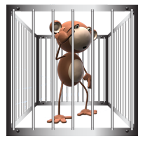 Munkey locked in a cage